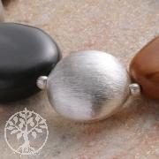Flache Silber Perle 18mm Silber925 Matt Gebürstet