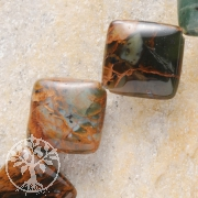 Grüne Opal Perlen Kissen Diagonal Gebohrt 14-15mm 40cm