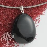 Obsidian Edelstein Anhänger mit Silberöse