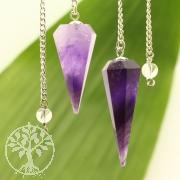 Amethyst Pendel mit Bergkristall Perle