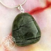 Nephrit Jade Steinanhänger mit Silberöse 23-25mm
