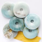 Amazonit Donut Blau Amazonit Anhänger 30mm Scheibe o. Bänderung AA