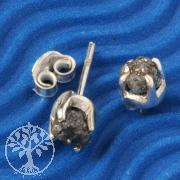 Diamant Ohrstecker schwarzer Rohdiamant