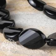 Schwarze Schmuckperlen Obsidian 25x18mm 40cm