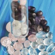 Amethyst, Bergkristall, Rosenquarz Wassersteine für Reagenzglas 100g
