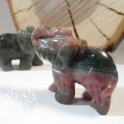 Moss Agate Stone Elephant