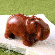 Gold Stone Hippopotamus Figure