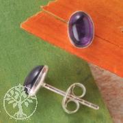 Amethyst Silber Ohrstecker oval