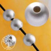 Silverbead, 4 mm, sandblast Sterlingsilver Beads