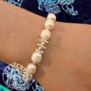 Perlen Armband Sternenluester mit Silberperlen 925