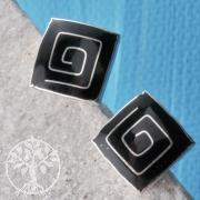 Silberohrstecker Onyx Quadrat