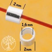Quetschperlen Röhrchen 2x2mm Standard Crimps Sterlingsilber 925