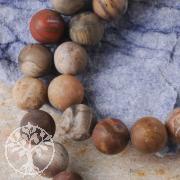 Petrified Wood Ball Beads matt 8mm/40cm frosted A