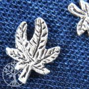 Silberohrstecker Kleines Hanfblatt 925 Silber
