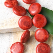Rote Koralle Perlen Perlenstrang Natur Dragee 19mm 40cm Münze