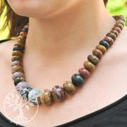 Gemstone Necklace Button Ocean Jasper