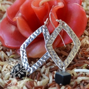 Onyx Silber Ohrhänger Raute