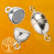 Magnet Silberverschluss Olive Magnetschliesse Silber 925 Verschluss