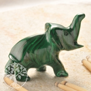 Malachit Edelsteinfigur Elefant