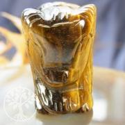 Tigerauge Büffel Bison Figur aus Stein 50 x 30 mm
